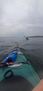 Kayak towing on baltic sea