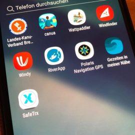 uebersicht von kanu-apps auf einem smartphone