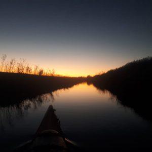 Paddeln auf der Ochtum Sonnenuntergang